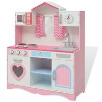 vidaXL Lekekjøkken tre 82x30x100 cm rosa og hvit