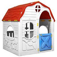 vidaXL Sammenleggbart lekehus for barn med fungerende dør og vinduer