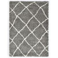 vidaXL Teppe raggete PP grå og beige 160x230 cm