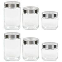 vidaXL Oppbevaringskrukker med sølvt lokk 6 stk 800/1200/1700 ml
