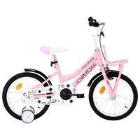 vidaXL Barnesykkel med bagasjebrett foran 16 tommer hvit og rosa