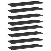 vidaXL Hylleplater 8 stk høyglans svart 60x20x1,5 cm sponplate