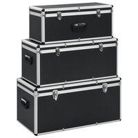 vidaXL Oppbevaringskasser 3 stk svart aluminium