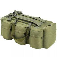 vidaXL Duffelveske i militærstil 3-i-1 120 L olivengrønn