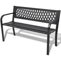 vidaXL Hagebenk 118 cm stål svart