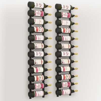 vidaXL Veggmontert vinstativ for 12 flasker 2 stk svart jern