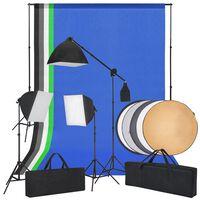 vidaXL Fotostudiosett med softbokslys, bakgrunner og en reflektor