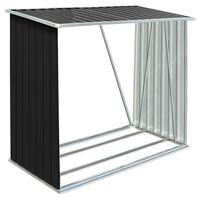 vidaXL Vedskjul galvanisert stål 163x83x154 cm antrasitt