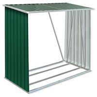 vidaXL Vedskjul galvanisert stål 163x83x154 cm grønn