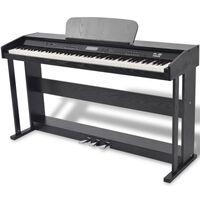 vidaXL Digitalt piano med 88 tangenter og pedaler svart melamin