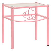 vidaXL Nattbord rosa og gjennomsiktig 42,5x33x44,5 cm metall og glass