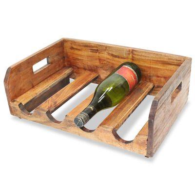 vidaXL Vinstativ 4 stk for 16 flasker massivt gjenvunnet tre