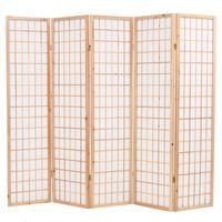 vidaXL Sammenleggbar romdeler 5 paneler japansk stil 200x170 cm naturell