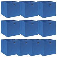 vidaXL Oppbevaringsbokser 10 stk blå 32x32x32 cm stoff