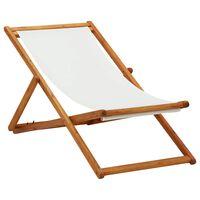 vidaXL Sammenleggbar strandstol eukalyptus og stoff kremhvit