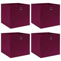 vidaXL Oppbevaringsbokser 4 stk mørkerød 32x32x32 cm stoff