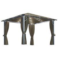 vidaXL Paviljong med gardin og strenglys 300x300 cm gråbrun aluminium