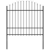 vidaXL Hagegjerde med spydtopp stål (1,5-1,75)x1,7 m svart