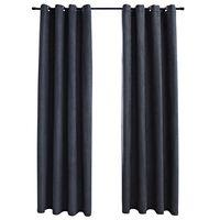 vidaXL Lystette gardiner med metallringer 2 stk antrasitt 140x225 cm