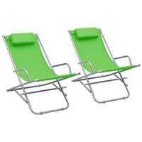 vidaXL Solstoler 2 stk stål grønn