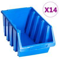 vidaXL Oppbevaringsbokser stablebare 14 stk blå plast