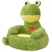 vidaXL Plysjbarnestol frosk grønn