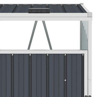 vidaXL Firedobbelt søppeldunkskur antrasitt 286x81x121 cm stål