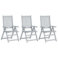 vidaXL Hagelenestoler 3 stk grå heltre akasie