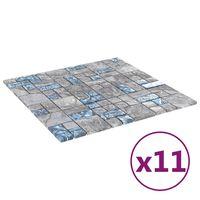 vidaXL Selvklebende mosaikkfliser 11 stk grå og blå 30x30 cm glass