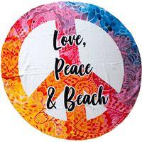 Badelaken i mikrofiber, Love, Peace & Beach