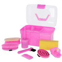 Kerbl Striglekasse mini med 8 verktøy rosa 321766