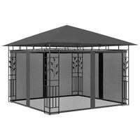 vidaXL Paviljong med myggnett 3x3x2,73 m antrasitt 180 g/m²
