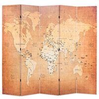 vidaXL Sammenleggbar romdeler 200x170 cm verdenskart gul