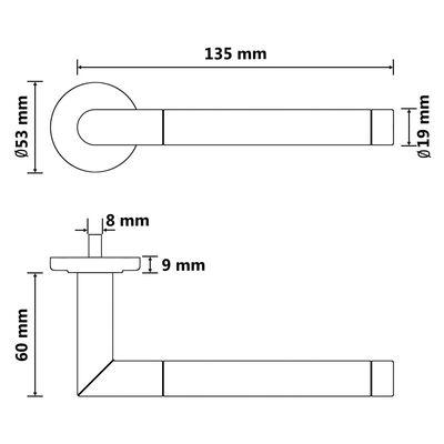 vidaXL Dørsett med håndtak og PZ-profilsylinder rustfritt stål