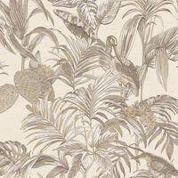 DUTCH WALLCOVERINGS Veggpanel Bird-of-Paradise kremhvit