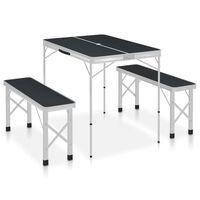 vidaXL Sammenleggbart campingbord med 2 benker aluminium grå