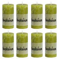 Bolsius Rustikke søylelys 8 stk 100x50 mm mosegrønn