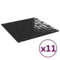 vidaXL Selvklebende mosaikkfliser 11 stk skinnende svart 30x30cm glass
