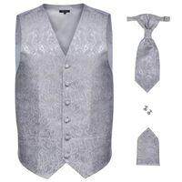 Bryllupsvest sett herrer i sølvfarget paisleymønster str. 52