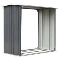 vidaXL Vedskjul galvanisert stål 172x91x154 cm grå