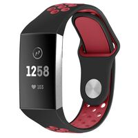 Fitbit Charge 3/4 Armbånd Silikon Svart / Rød