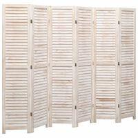 vidaXL Romdeler 6 paneler hvit 210x165 cm tre