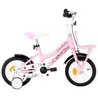 vidaXL Barnesykkel med bagasjebrett foran 12 tommer hvit og rosa