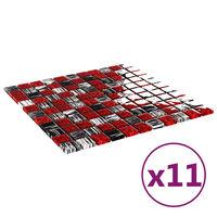 vidaXL Selvklebende mosaikkfliser 11 stk svart og rød 30x30 cm glass