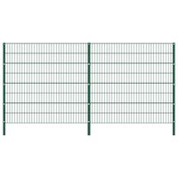 vidaXL Gjerdepanel med stolper jern 3,4x1,6 m grønn