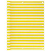 vidaXL Balkongskjerm gul og hvit 120x600 cm HDPE