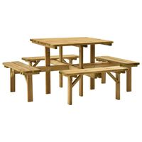 vidaXL Piknikbord med 4 sider 172x172x73 cm impregnert furu