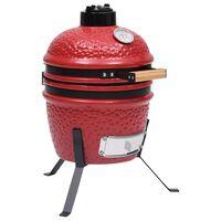 vidaXL Kullgrill med røyker Kamado keramisk 56 cm rød