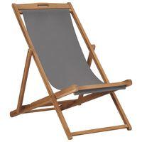 vidaXL Sammenleggbar strandstol heltre teak grå