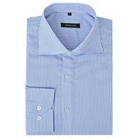vidaXL Menns Forretningskjorte Hvit og Blå Striper Størrelse M